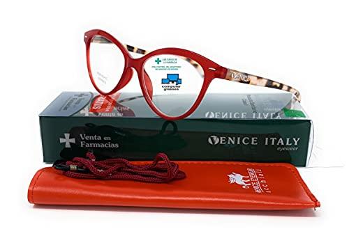 Gafas de lectura presbicia Mujer Diseño en Colores: Verde, Rojo, Rosa, Negro. VENICE Zenny - Dioptrías: 1 a 3,5 (Rojo con Blue Block, +3,00)