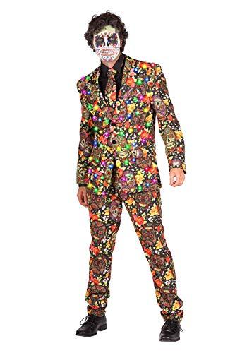 Tag der Toten Kostüm Herren 3-Teiliger Anzug mit LEDs I Mexikanisches Halloweenkostüm Rot Gelb mit Totenköpfen I Day of The Death Dia de los Muertos I Rot Gelb M (50)