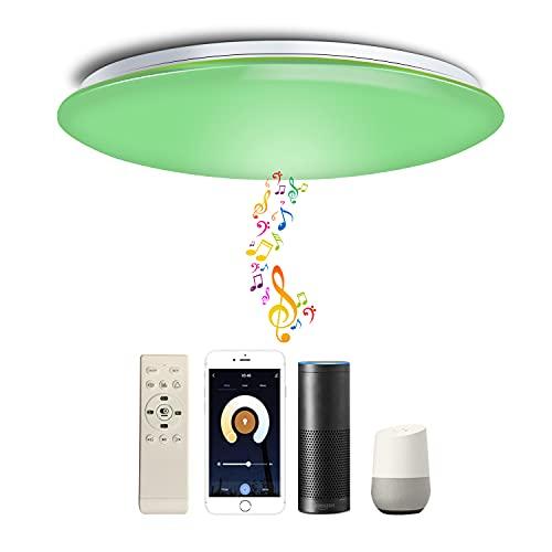 Chysongoods Φ50cm 55W Musik Deckenlampe Amazon Alexa Google Home Kompatibel Mit Bluetooth Lautsprecher Deckenleuchte LED RGB Farbwechsel Dimmbar für Küche Schlafzimmer Wohnzimmer Badezimmer