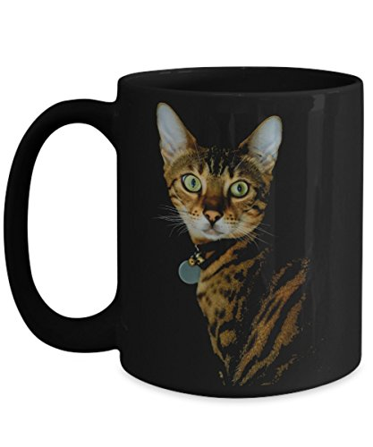 Bengal Cat Gifts Mug Black Coffee Cup Art for Mom Dad 15 oz Size