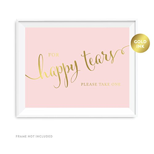 Andaz Press Wedding Party Signs, Blush Pink with Metallic Gold Ink, 8.5x11-inch, For Happy Tears Tissue Kleenex Ceremony Sign, 1-Pack, Unframed