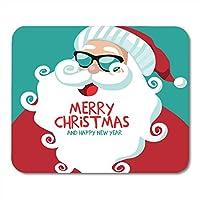 マウスパッドメリークリスマスと新年あけましておめでとうございます漫画サンタクロースマウスパッドノートブック、デスクトップコンピューターマウスマット、オフィス用品