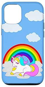 Cute White Unicorn Cartoon on Cloud with Rainbow iPhone Case