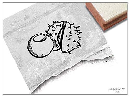 Stempel Motivstempel Kastanie - Bildstempel für Basteln Karten Tischdeko Kunst Scrapbook Herbst-Deko Geschenk für Kinder- zAcheR-fineT