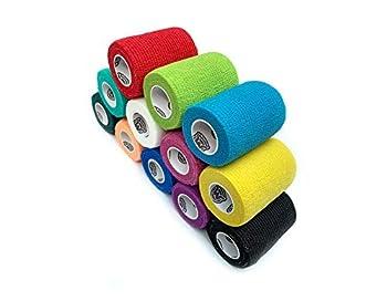 WildCow Vet Wrap Bulk Bandage Tape  3 Inch 12 Color Pack  Waterproof Self Adherent Cohesive Rolls…
