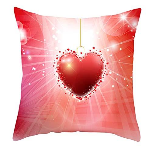 KnBoB Funda Almohada Poliéster Corazón Purpurina 45 x 45 cm Rojo Estilo 20