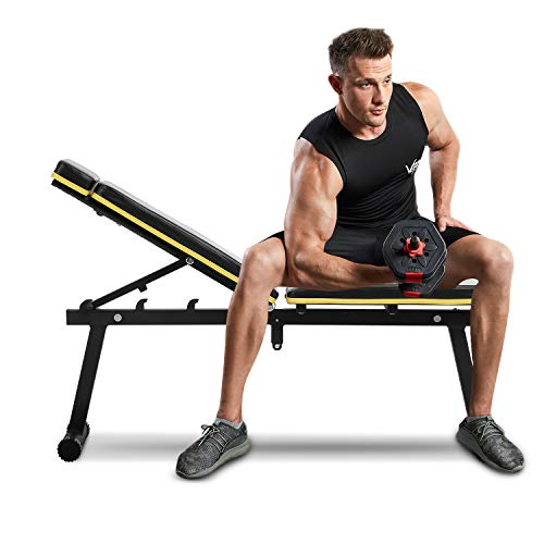 ZENOVA Adjustable Weight Bench ,Foldable Workout Bench for Full Body Exercise, Utility Strength Training Bench Fast Folding for Home Gym