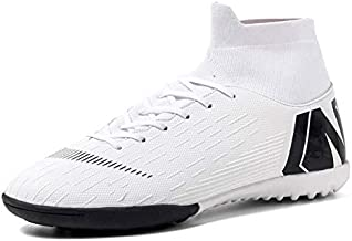Binbinniao CR Indoor - TF Turf Cleats Boys - High Tops Ankle Boots Women Turf - Messi Outdoor Soccer Shoes - Men Size Black
