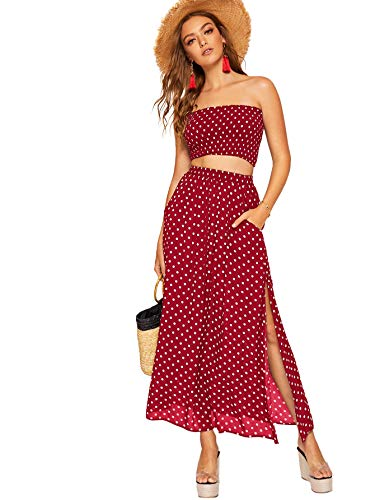 Floerns Women's 2 Piece Outfit Polka Dots Crop Top and Long Skirt Set with Pockets Red L