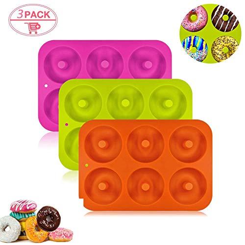 Molde para Donut de Silicona, Juego de 3 Molde de Silicona para Hornear Donut, Antiadherente Molde de Silicona Apto para Lavavajillas, Horno, Microondas, Congelador