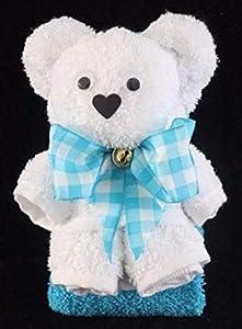 Teddybär/Handtuch-Tier in weiß auf türkis, Handtuchfigur, Schleife Karo türkis-weiß