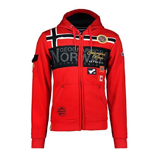 Geographical Norway GARADOCK Men - Felpa con Zip da Uomo - Felpa in Cotone da Uomo - Felpa con Cappuccio Giacca A Manica Lunga - Felpa con Cappuccio Sport Casual Tasche Tessuto Traspirante Rosso XL