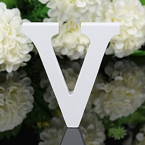 YUNA Legno Lettere A-Z Retro Fai da Te Decorazione per la casa caffetteria Abbigliamento Negozio Feste di Matrimonio Bianco, Altezza 8 cm, Legno, White, Large (V)