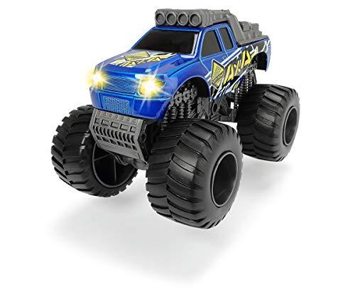 Dickie Toys Monster Truck, Geländewagen, Truck aus Die-cast mit Licht & Sound, inkl. Batterien, 2 verschiedene Farben, rot oder blau, zufällige Auswahl, 15 cm, ab 3 Jahren
