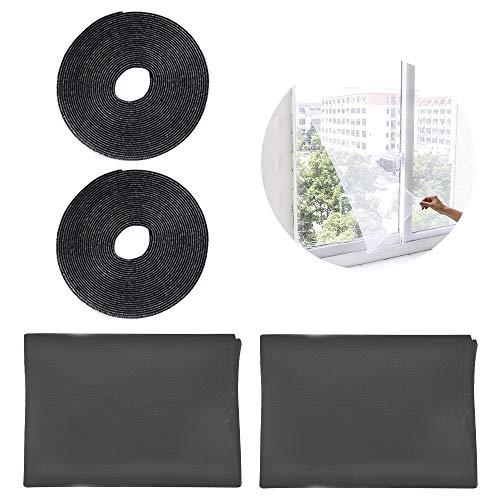SITAKE 2 Stück Insektenschutz Fenster mit 2 Selbstklebendem Klettband - Insektengitter Fenster - Fliegengitter-Netze - Fliegengitter für Fenster (1,3m x 1,5m, Schwarz)