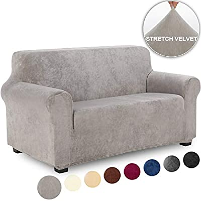 TIANSHU Velvet Plush Soft and Thick Sofa Cover Slip Resistant Stylish Furniture Cover 1 Piece Velvet Sofa Cover for Loveseat Slipcovers Stylish Velvet Plush Furniture Cover(Loveseat,Light Gray)