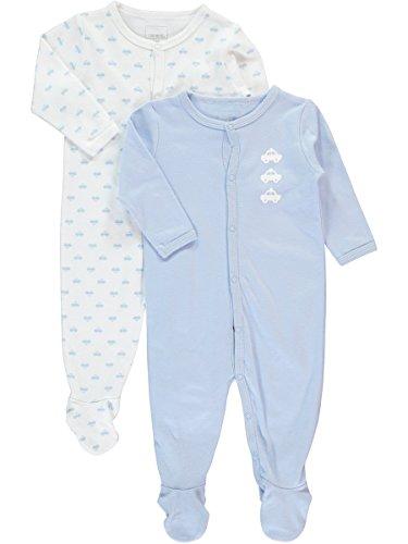 NAME IT NAME IT Baby-Jungen NITNIGHTSUIT W/F NB B NOOS Schlafstrampler, Mehrfarbig (Cashmere Blue), 56 (2erPack)