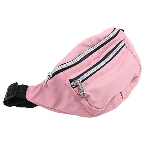 WDFVGEE - Bolsa de cintura unisex de nailon para teléfono móvil, doble cremallera, fácil de llevar, Pink (Rosa) - 3TT903423-PK_ENG1