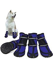 Dociote Zapatos para Perros, 4Pcs Antideslizante Botas con Correas Resistente, Cierre de Velcro, Impermeables Protectores de Patas para Perros Medianos y Grandes
