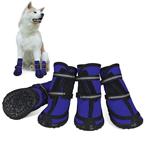 Dociote Hundeschuhe pfotenschutz mit Anti-Rutsch Sohle, reflektierendem Riemen, Klettverschluss wasserdicht Schneeschuhe für mittelgroße große Hunde 4 Stück Blau XL