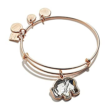 Alex and Ani Path of Symbols Expandable Bangle for Women Crystal Elephant Charm Shiny Rose Gold Finish 2 to 3.5 in