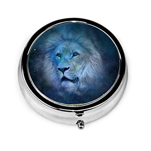 Leo Constellation Stellar Custom Fashion Silver Round Pastillero Medicina Tablet Holder Monedero Organizador de Vitamina Caja Decorativa
