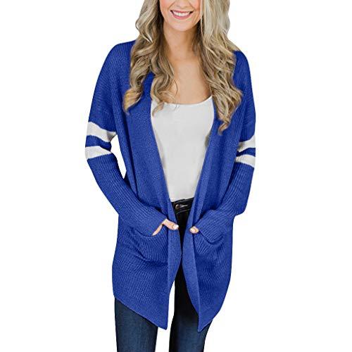 CICIYONER Lange Strickjacke Damen Frauen gestreifte Lange Hülse gestrickte Pullover Taschen Top Coat Outwear