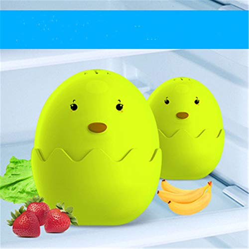 2 Huevos Desodorante para Nevera, Desodorante Reutilizable para Nevera, Olor a Nevera y Congelador, Huevo Desodorante de Diatomeas, Ambientador de Aire Natural de Carbón de Bambú Para Nevera (Verde)