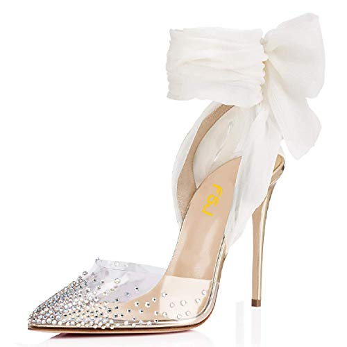 FSJ Women High Heel Ankle Strap Sandals Pointed Toe Rivets Pumps PVC Club Shoes with Studs Size 9.5 Gold