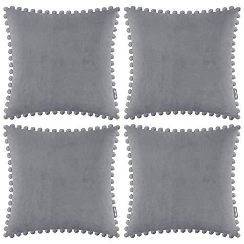 Funda de cojín de terciopelo suave, decorativa, cuadrada, con pompones para sala de estar, sofá, dormitorio, con cremallera invisible, 45 x 45 cm, 4 piezas, color gris claro