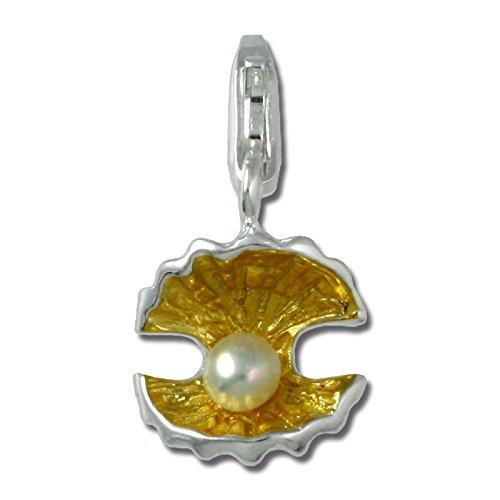 SilberDream Charm 925 Echt Silber Anhänger gelb Perlenmuschel Perle FC230Z