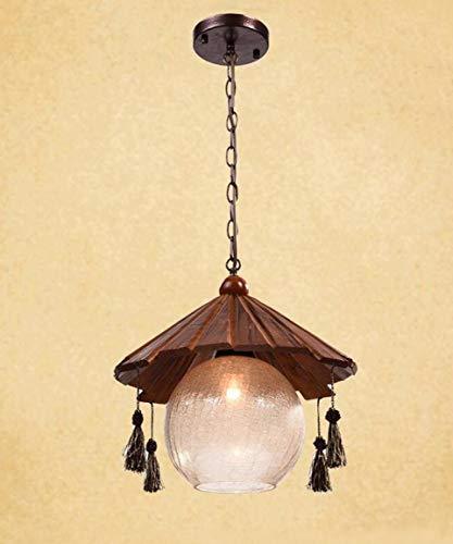 Lampada a sospensione in legno industriale, illuminazione retrò Lampada a sospensione in corda di ferro Loft in resina creativa Personalità di antiquariato Personalità Stile Hanging Hanging Spike Lamp