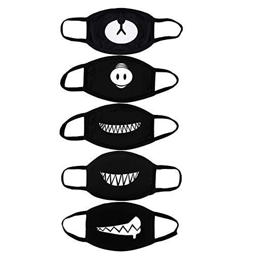 ZOYLINK 5 STÜCKE Mundmaske Baumwollmaske Atmungs Wiederverwendbare BäR Schwein Nase ZäHne Anime Maske FüR MäNner Frauen (Schwarz)