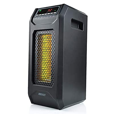 LIFE SMART Infrared Quartz Tower Space Heater, Portable Heater with Adjustable Thermostat and Remote Control, Timer, and Overheat and Tip- Over Protection 1500W