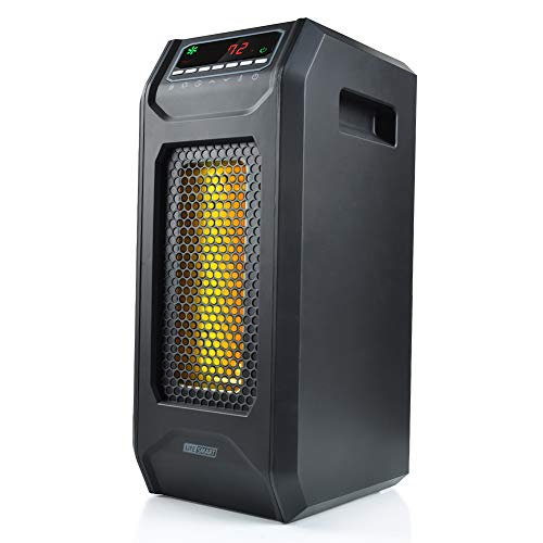 LIFE SMART Infrared Quartz Tower Space Heater, Portable Heater with Adjustable Thermostat and Remote Control, Timer, and Overheat and Tip- Over Protection 1500W Heater Infrared Space