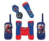LEXIBOOK Spider-Man-Juego Completo de Aventuras para Niños, Walkie-Talkies 120m, Prismáticos, Brújula, Linterna, Azul/Rojo