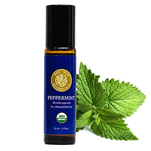 Organic Peppermint Essential Oil, 100% Pure Non-GMO USDA Certified Organic Mentha Piperita - 10ml Pre-diluted Roll-on | Headache, Stress, Pain Relief - Improve Focus, Energize