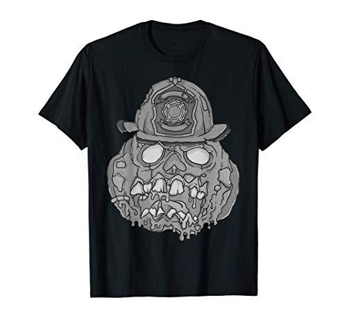 Cool Zombie Pumpkin Firefighter Funny Halloween Costume Gift T-Shirt