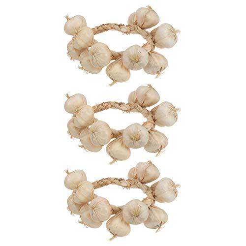 Yardwe White Garlic Strings Fake Food Vegetable Garland Hanging Rope Home Kitchen Decor Photography Props 3pcs