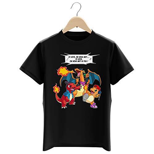 Okiwoki T-Shirt Enfant Garçon Noir Parodie Pokémon - Dracaufeu, Reptincel et Salamèche - Ce Soir, on Vous met Le Feu ! (T-Shirt Enfant de qualité Premium de Taille 9-10 Ans - imprimé en France)
