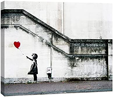 Wieco Art Banksy Grafitti Girl with Red Balloon Large Modern Gallery Wrapped Giclee Canvas Prints Artwork Grey Love P...