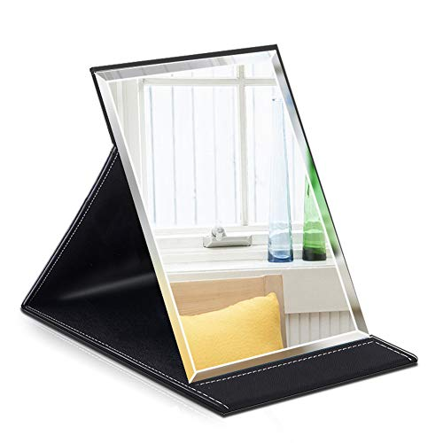 HY Table Mirror Portable Folding Makeup Mirror Collapsible Desk Tabletop PU Leather Mirror with Adjustable Standing M