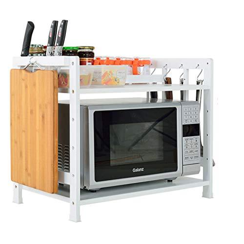 Kitchen rack Home Storage Shelf 2-layer Multi-function Countertop Kitchen Shelves Microwave Oven Holder White 503850cm color  White