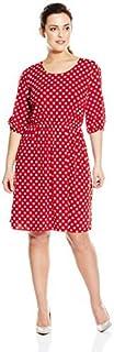 فستان قصير للنساء من Star Vixen مقاس كبير مع فتحة من الكوع بخصر مرن