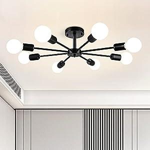 Modern 8-Light Sputnik Chandelier Black Semi Flush Ceiling Lights Mid Century Style Vintage Pendant Lights for Dining Room Living Room Bedroom Kitchen Restaurant