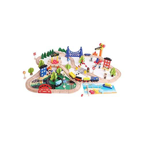 QARYYQ 108 Koreanische Holzbahngleise Mit Angelszenen, Stadtverkehr, Buche Spielzeug