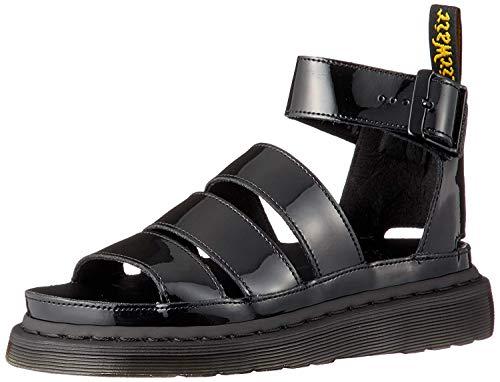 Dr. Martens Women's Gladiator with Buckle Strap Sandal, Black Patent Lamper, 8