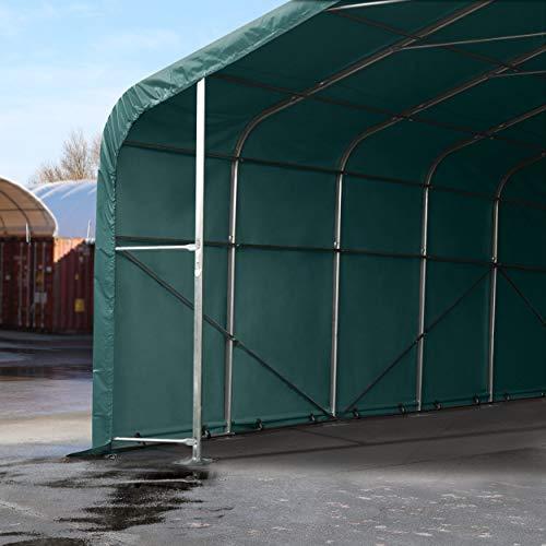 TOOLPORT Standsichere Lagerhalle/Lagerzelt 6 x 12 m/mit Statik feuersichere 720 g/m² PVC Plane Weidezelt dunkelgrün - 5