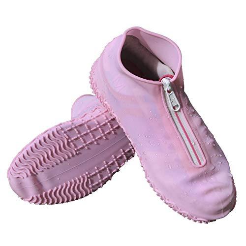YJZQ Couvre Chaussures étanche Hommes Femmes Couvre-Bottes Antidérapante Modèle Fermeture éclair Chaussures de Pluie Pliables Housse Silicone sur Chaussures avec Semelle Renforcée