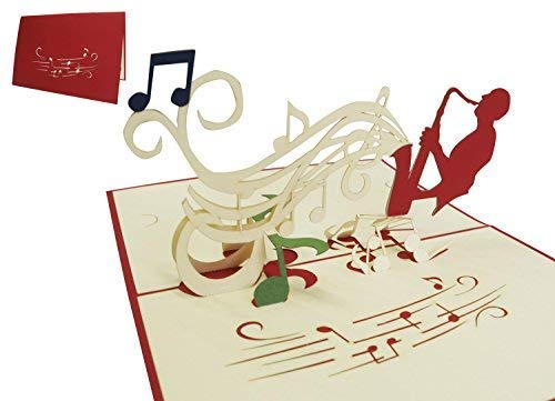 LIN-POP UP Karten Geburtstagskarten Gutscheinkarten Musik Konzert, Saxophon